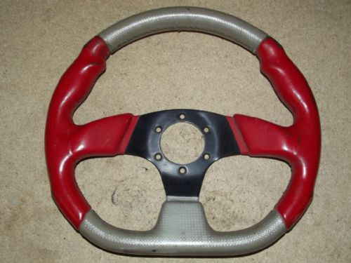 Steering wheel, red/grey d-shaped, 330mm USED 53